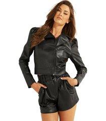 chaqueta dramma faux leather moto negro guess