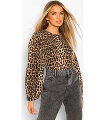 luipaardprint top met peter pan kraag, brown