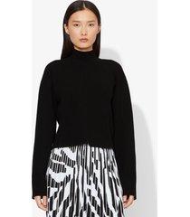 proenza schouler contour cropped mockneck compact knit pullover black xs