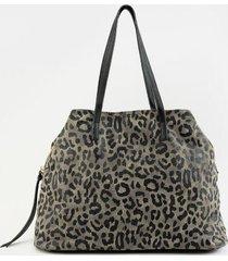 kip leopard canvas tote - dark grey