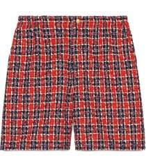 gucci tweed check shorts - red