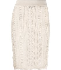 pinko open-knit pencil skirt - neutrals