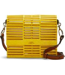 vince camuto joss bamboo crossbody bag - yellow