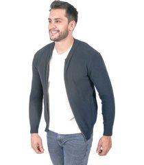 suéter para hombre tejido en hilo con cremallera azul