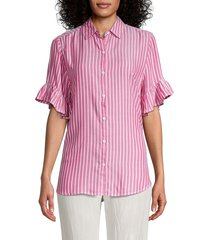 beach lunch lounge women's nisa striped shirt - raspberry - size m