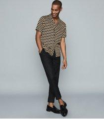reiss tresco - wave printed shirt in black/orange, mens, size xxl