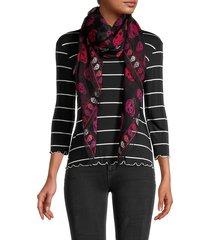 alexander mcqueen women's box skull-print silk scarf - black pink