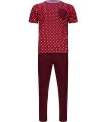 pijama camiseta corta pantalón largo color morado, talla l