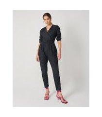 amaro feminino macacão jeans leve elástico, preto