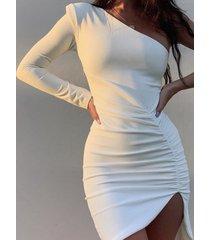 blanco split diseño one fruncido de hombro vestido
