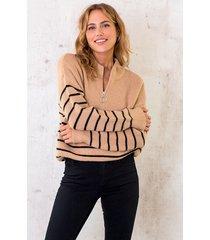 oversized zip trui gestreept camel