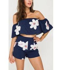 off shoulder random floral print crop top & short co-ord