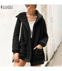 zanzea mujeres abrigo de piel con capucha cardigan jumper sweater fluffy flush fleece coat -negro