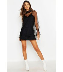 dobby mesh high neck sheer dress, black
