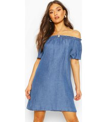 chambray off the shoulder shift dress, mid blue