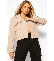 cropped popper front jacket, stone
