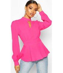 keyhole detail woven blouse, fuchsia