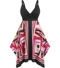 plus size psychedelic geometric hanky hem casual dress