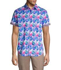 bashan watercolor print sport shirt