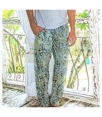 men's cotton lounge pants, 'forest pebbles' (indonesia)