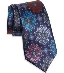 men's ermenegildo zegna floral medallion silk tie, size one size - blue