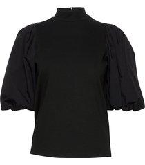 bimagz turtleneck blouses short-sleeved svart gestuz