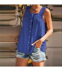 zanzea mujeres sin mangas de las tapas del tanque botones en cuello cuadrado camisa remata la blusa -azul