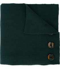 0711 button embellished knitted scarf - green