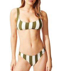solid and striped women's the elle striped bikini top - safari stripe - size xl
