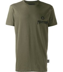 philipp plein statement logo print t-shirt - green