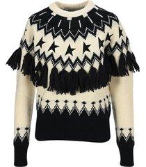 golden goose black and white journey collection deidra fair isle sweater