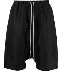 rick owens drawstring-waist drop-crotch shorts - black