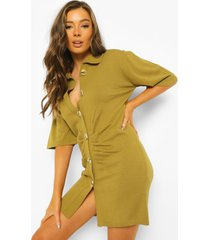 geplooide gebreide jurk met knopen, olive