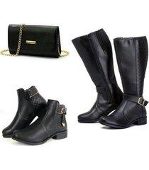 kit bota montaria + bota coturno + bolsa clutch ref kbbb03 alice monteiro feminino - feminino