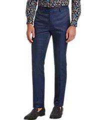 paisley & gray skinny fit suit separates pants blue and black jacquard dot