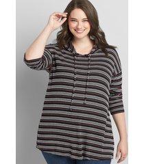 lane bryant women's striped waffle-knit hoodie 18/20 black