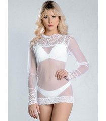blusa yasmin lingerie transparente renda feminina