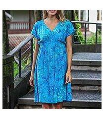 batik rayon dress, 'java twilight' (indonesia)