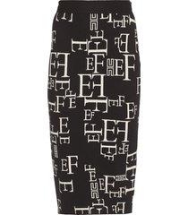 elisabetta franchi logo jaquard pencil skirt