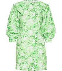 printed cotton poplin korte jurk groen ganni