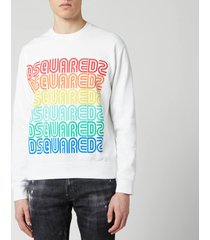 dsquared2 men's multi logo sweatshirt - white - xxl