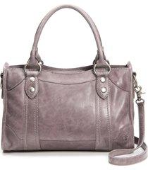 frye 'melissa' washed leather satchel - purple