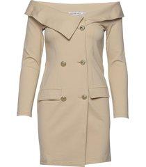 off shoulder blazer dress kort klänning beige ivyrevel