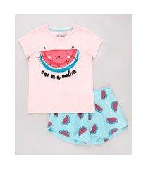 pijama infantil melancia manga curta rosa