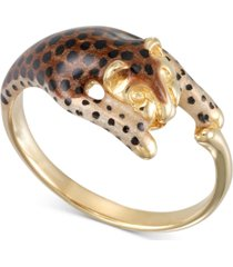 leopard statement ring in 18k gold-plated sterling silver