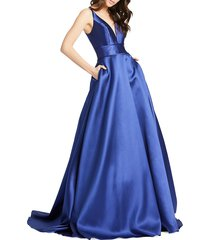mac duggal women's empire waist ball gown - midnight - size 16