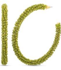 kensie yellow bead wrapped post hoop earring