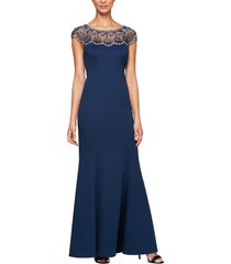 women's alex evenings beaded illusion neck trumpet gown, size 14 - blue
