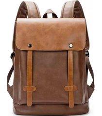 mochila elegante cuero pu marrón millam