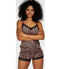 hunkemöller pyjamasshorts i sammet och leopard rosa